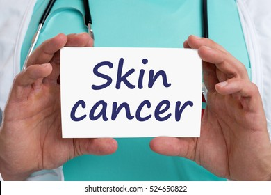Skin cancer awareness disease ill illness health doctor with sign