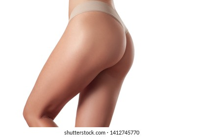 Skin care and anti cellulite massage. Perfect female buttocks without cellulite in panties. Beautiful woman's butt in underwear. Slim fit woman body.