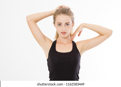 Skin care and armpit concept. Young caucasian european woman isolated on white background in summer t shirt. Spa and beauty. Copy space.
