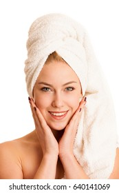 skin care - beautiful young woman nurturing her skin isolated over white background