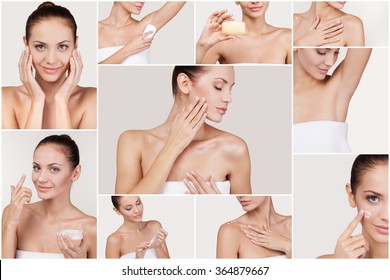 Skin care. Collage of beautiful young woman making beauty routine while standing against white background