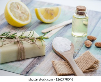 skin care natural products ingredients for scrub body mask: almond oil, lemon juice, natural soap,backing soda.