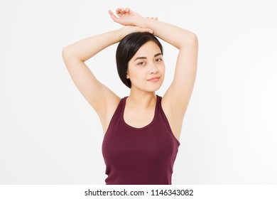 Skin care and perfect armpit concept. Young asian woman isolated on white background in summer shirt. Copy space.