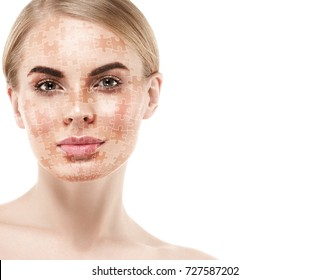 Skin care puzzle collage woman beauty healthy skin concept
