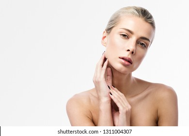 Skin care and Spa. Beauty portrait of a beautiful young woman on a light background