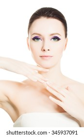 Skin Care Spa Concept. Healthy Woman with Clear Skin and Natural Make-up