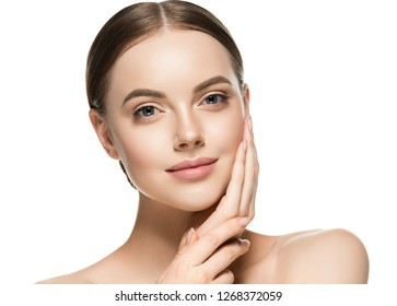Skin care woman healthy skin face closeup beauty female model girl