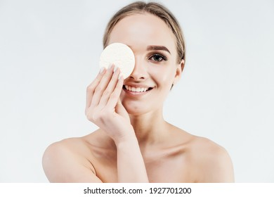 Skin cleansing at home. Sponges for skin cleansing. Naturalness and beauty. Place for advertising text.