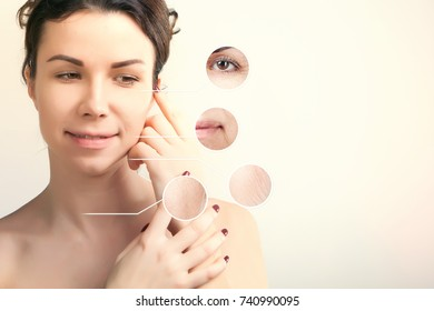skin lifting concept portrait of brown haired woman over white