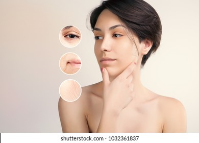 skin lifting and old skin problems concept portrait of young asian model