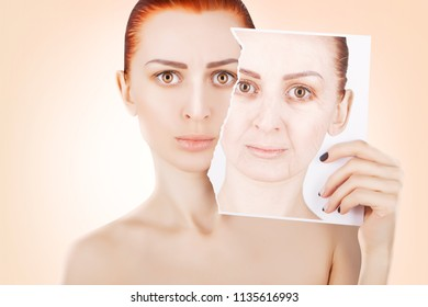 skin lifting, red haired woman portrait