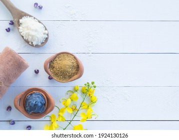 Skin mud mask and salt, thanaka or hesperethusa crenulata with towel for cleans and nourishes the skin. aromatherapy spa for luxury hotel.