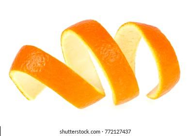 Skin of orange on a white background