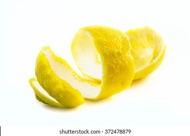 The skin of the peeled lemon isolated on white background