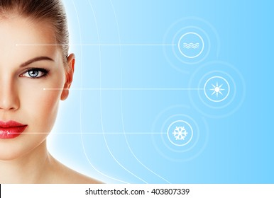 Skin protection and day-spa. Close-up of beautiful woman face over blue background with symbol of weather conditions.