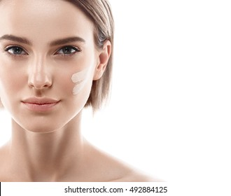 Skin tone cream lines on woman face. Beautiful woman portrait beauty skin healthy and perfect makeup