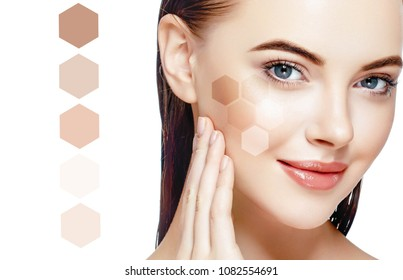 Skin tone woman healthy skin female face with different colors of cream tone