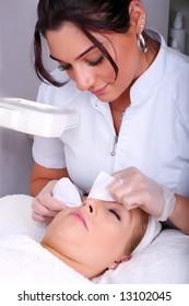 Skin treatment in a beauty salon
