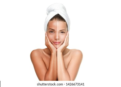 Skin whitening Asian beauty woman touching face comparison between dark tanned skin and fair pale skin. Multiracial model with bath towel half body care sun tanning lifestyle.
