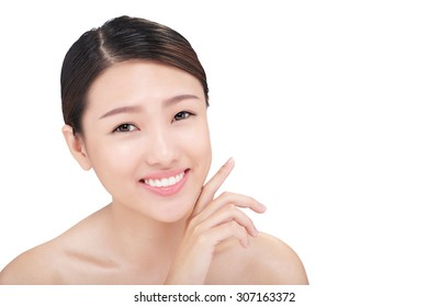 Skincare and beauty: girl with clean fresh skin isolated on white
