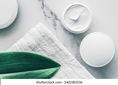 Skincare and body care, luxury spa and clean products concept - organic beauty cosmetics on marble, home spa flatlay background