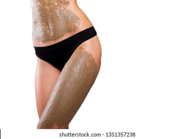 Skincare concept- anti-cellulite and  weight loss. isolated. Beautiful woman body standing, getting mud body massage with scrub - Image