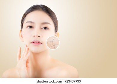 skincare and health and cosmetic beauty concept - beautiful asian young woman face with wrinkles over circles for advertising.