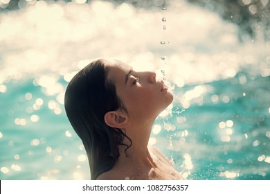 skincare and healthy lifestyle. skincare of woman in water pool.