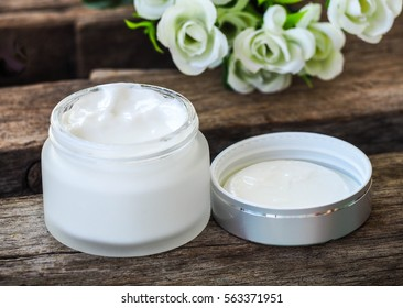Skincare Product for facial with a vintage decoration and background.