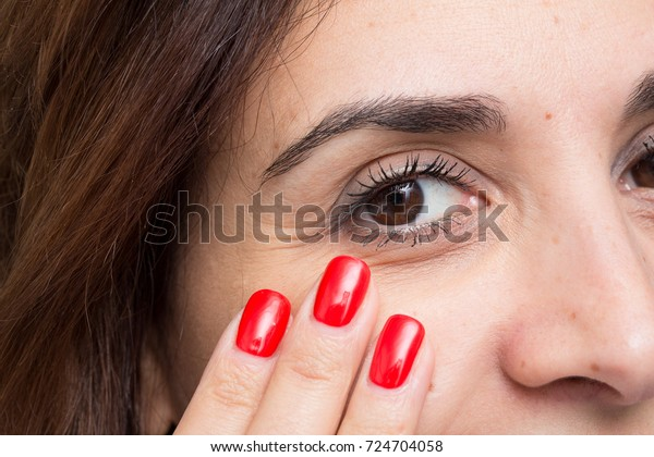 Skincare of woman face for age signs