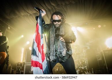 "Skindred perform at Concorde 2 Brighton 310117.Band members include:Clive John ""Benji"" Webbe Michael Fry (a.k.a. Mikey Demus)Dan PugsleyArya Goggin"