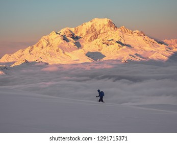 Sking in front of Mont Blanc