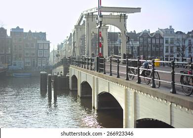Skinny Bridge - drawbridge over the Amstel river in Amsterdam, Netherlands.