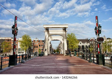 Skinny Bridge (Dutch: Magere Brug) over the Amstel river in Amsterdam, Netherlands, North Holland province.