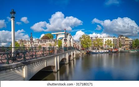 Skinny Bridge (Dutch: Magere Brug) over the Amstel river in Amstel