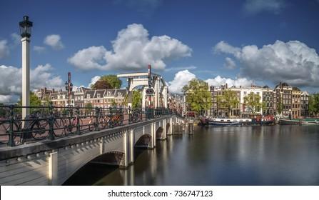 Skinny Bridge (Dutch: Magere Brug) over the Amstel river in Amst