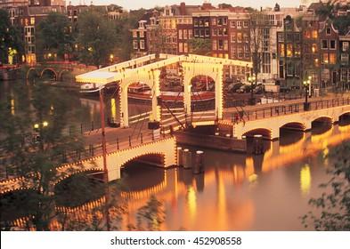 Skinny Bridge at sunset, Amsterdam, Netherlands