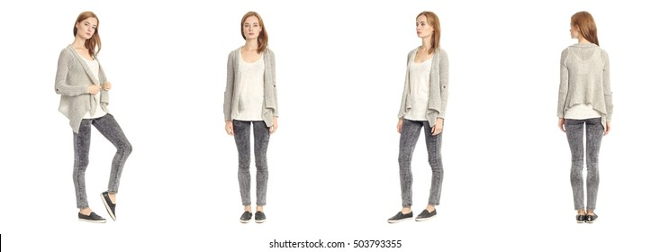 Skinny brunette fashion model in gray cardigan isolated