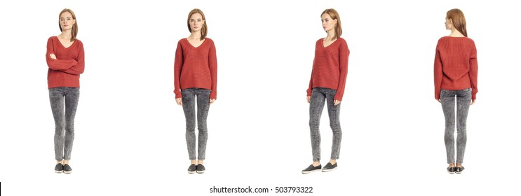 Skinny brunette fashion model in red blouse isolated
