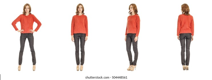 Skinny brunette fashion model in red sweater isolated