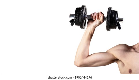Skinny guy hold dumbbells up in hands. A thin man in sports with dumbbells. Weak hand man lift a weight, dumbbells. Nerd maleraising a dumbbell. Man hand holding dumbbell in hand.