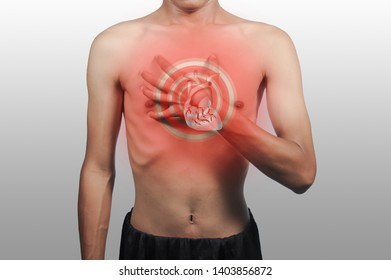 Skinny man, chest pain and heart, heart attack, Red means pain.