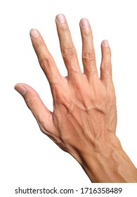 skinny man hand white isolated