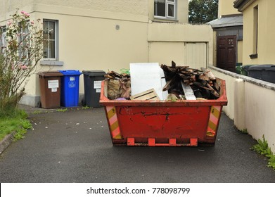 Skip outside residential house, tuam road, Galway, December 2017