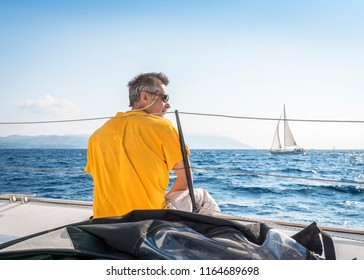 Skipper resting during the yacht race