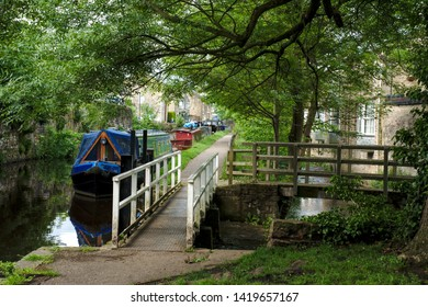 Skipton, Craven, Yorkshire Dales National Park, North Yorkshire, England, Britain, June 2019, narrow boats moored on side of Leeds-Liverpool canal under green tree canopy