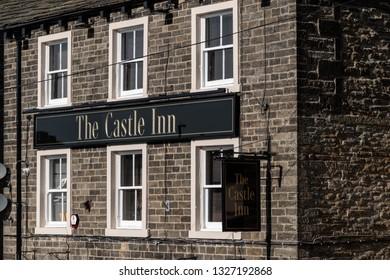 Skipton, England - 02 Feb 2019: Skipton castle inn pub