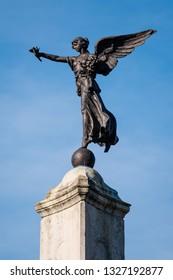 Skipton, England - 02 Feb 2019: Skipton monument statue on high street