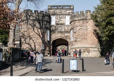 Skipton, England - 02 Feb 2019: Skipton castle and tourists