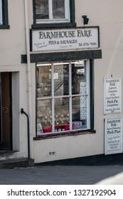 Skipton, England - 02 Feb 2019: Skipton farmhouse fare pie shop